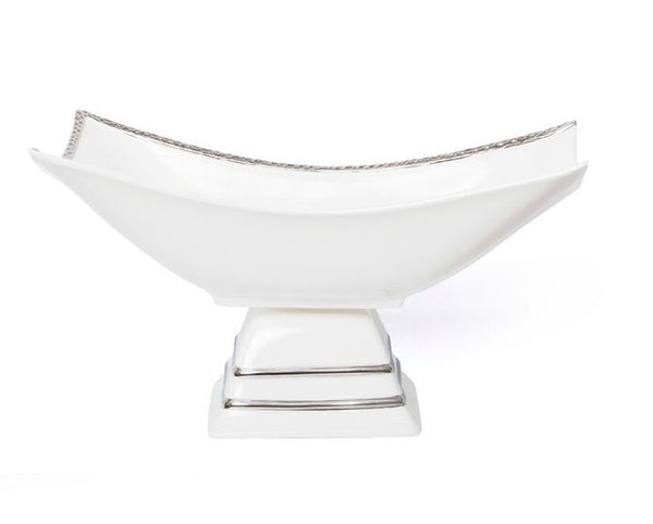 Pedestal Rectangle Silver Relief Bowl Joseph