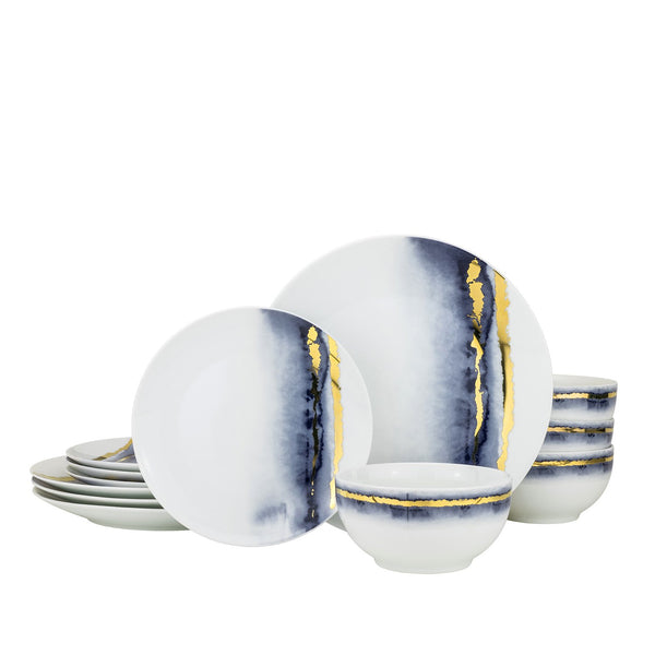 "Super White Porcelain ""Lazuli""Dinnerware Set 12 Piece"