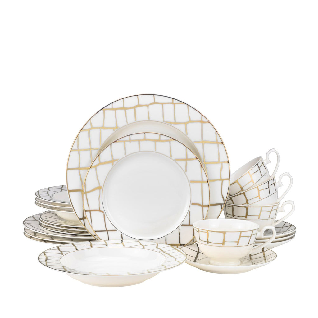 Luxe Gold 20pc-Bone China Dinner Set