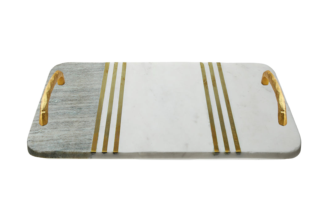 White Marble Challah Tray/Gray/Gold Handles&Lines