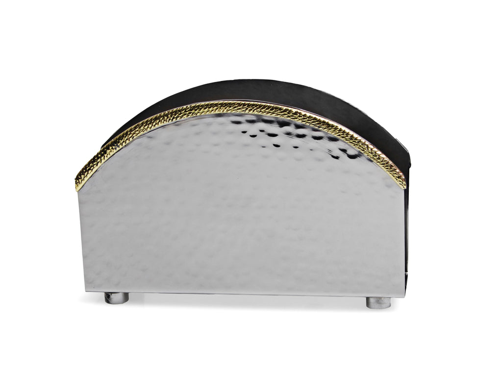 Nickel Napkin Holder with Gold Spaghetti Border