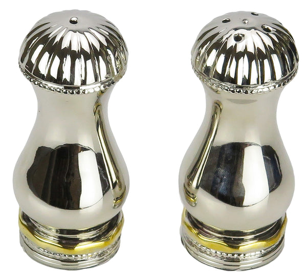 Salt & Pepper Shaker Set with Gold Border