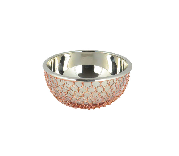 Small Nickel Salad Bowl with Copper Woven Design