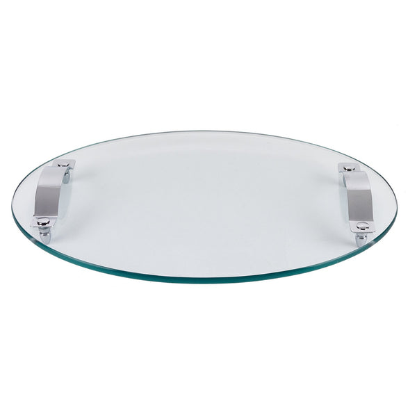 "Oval Tray with Handles - Tempered Glass 17""x12"""