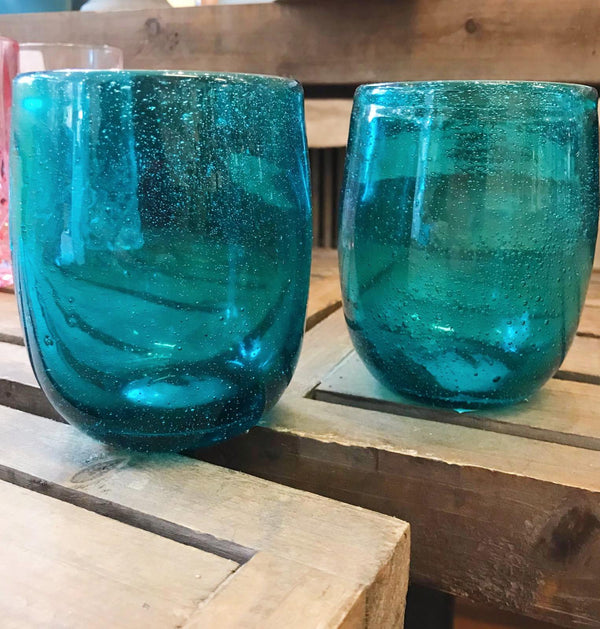 Teal Stemless Wineglass Set/4