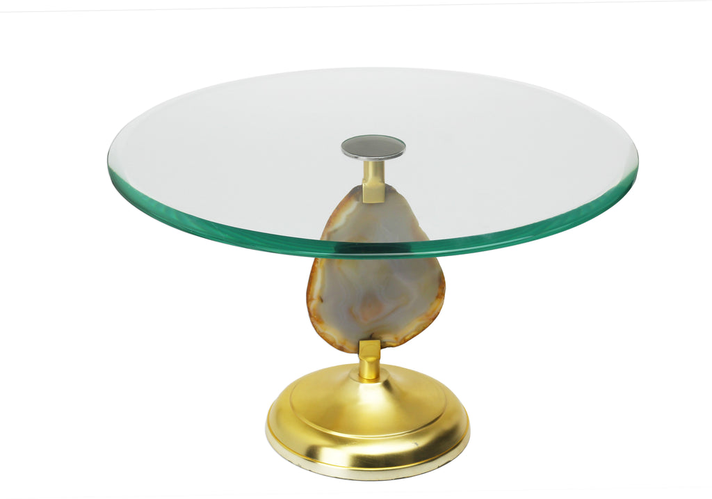 Glass Cake Stand with Agate Stone Stem