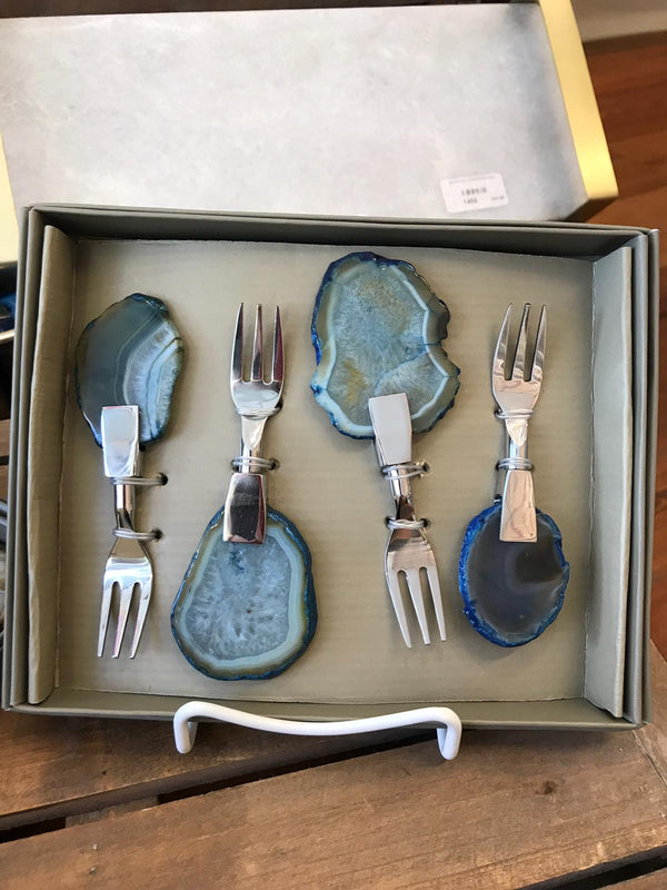 SET OF 4 AGATE COCKTAIL FORKS BLUE
