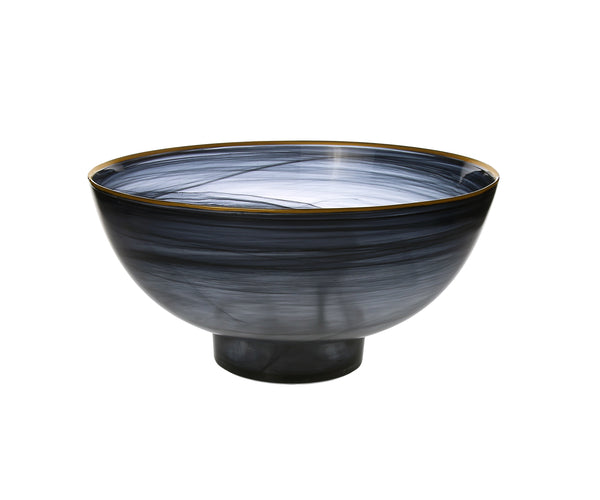 Black Alabaster Bowl with Gold Rim