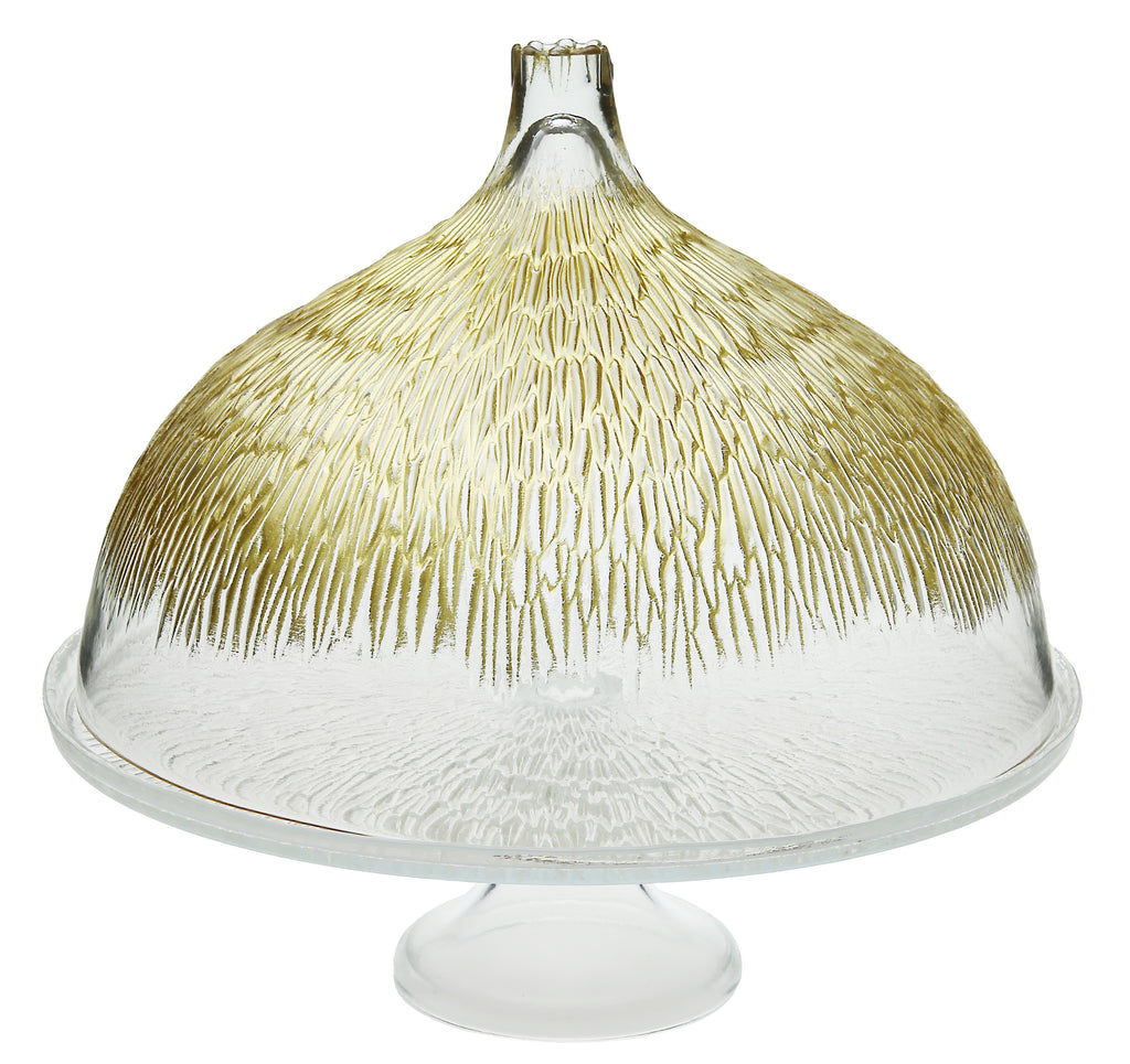 Glass Cake Stand w/Done w/Gold Design