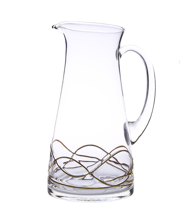 Water Pitcher with Gold swirl Design