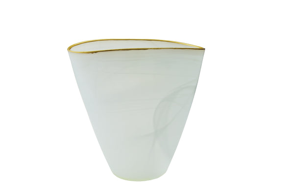 Vase Alabaster White, Gold Trim