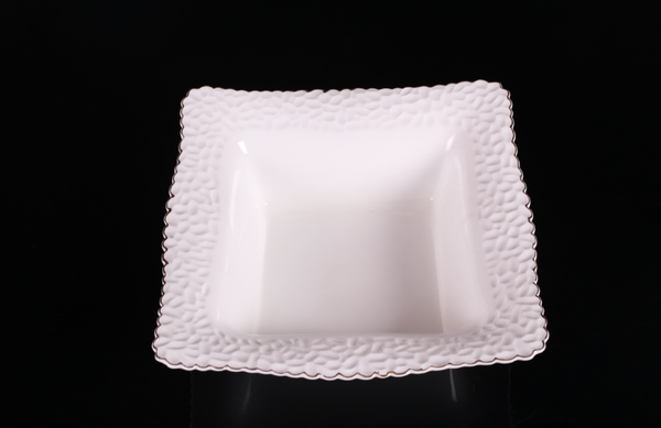 Hammered White Sq Bowl Silver