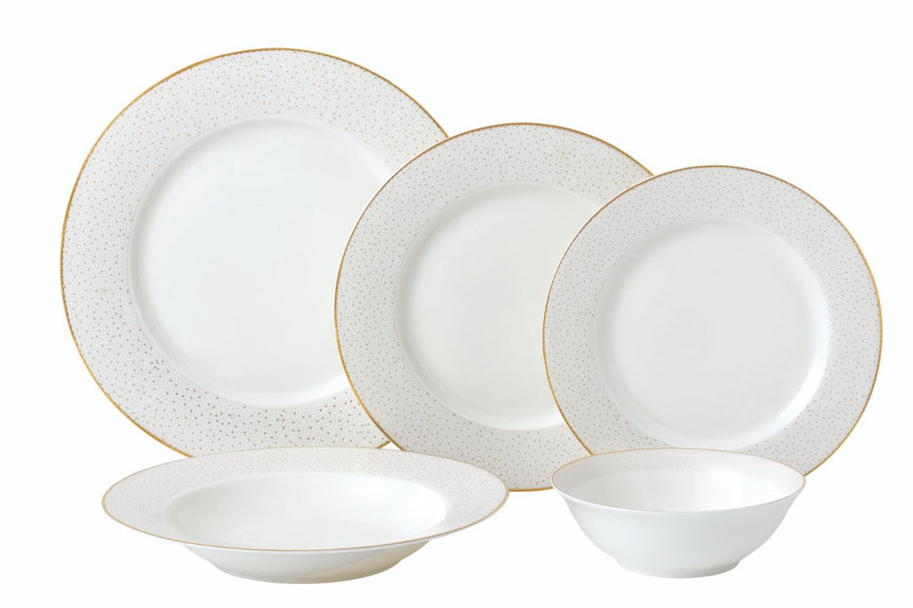 Dinner Set, Gold Dotted