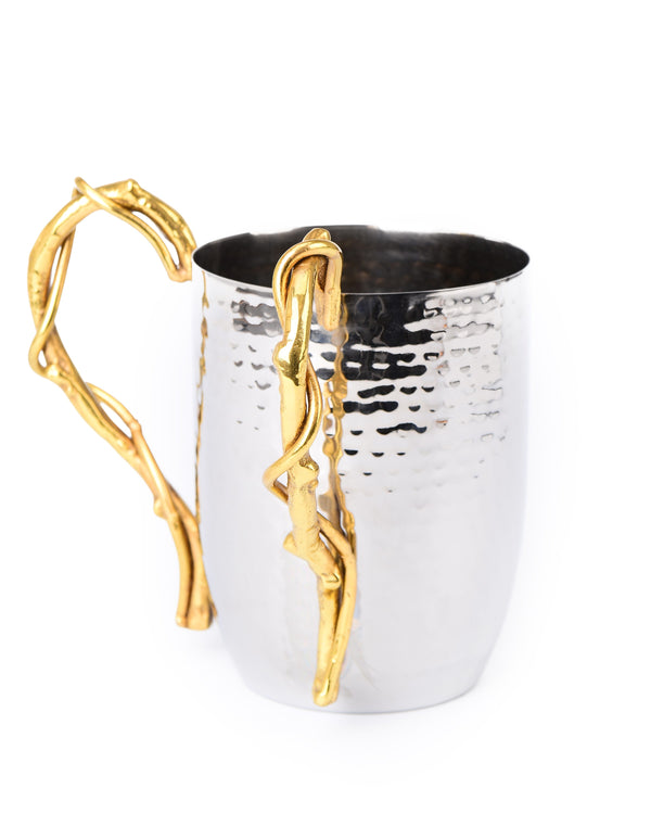 Hammered Stainless Wash Cup - Gold Branch Design