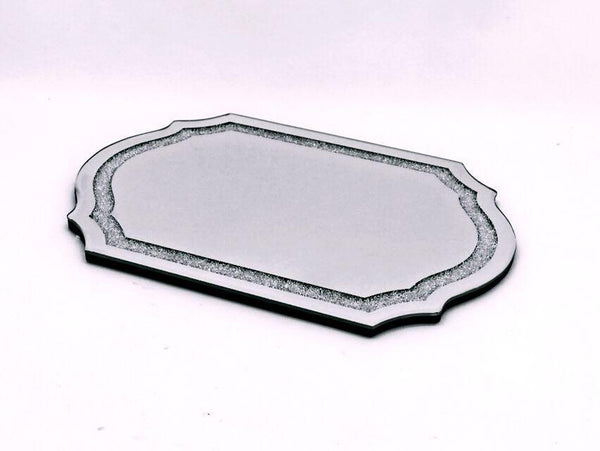Mirror Tray Wood With Diamonds Lekavod Shabbos