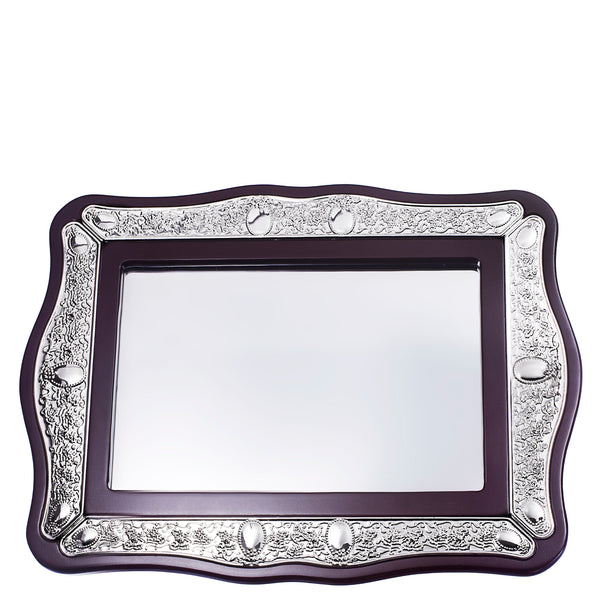 Wood & Silver Plate Mirror Tray 19x14""