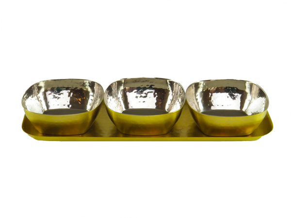 Rectangle Tray w/ 3 Round Bowls- Brass Finish