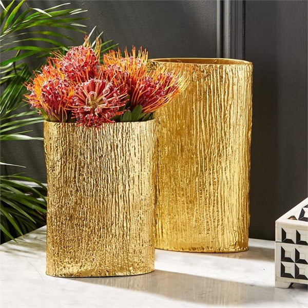 Golden Textured Tree Vase