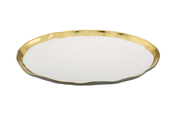 White Ceramic Oval Plate with Gold Border