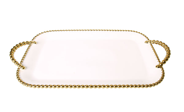 Porcelain White tray with Gold beaded Borders