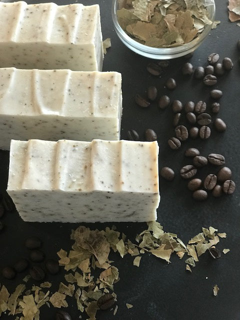 Handcrafted Body Buff Soap with Coffee and Mint 5.5 oz