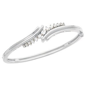 "Petite Diamond Bangle Bracelet, Rhodium-Plated 14k White Gold, 7"" (.5 Cttw, GH Color , I1 Clarity )"