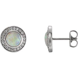 Platinum Opal and Diamond Halo-Style Earrings (6MM) (.2 Ctw, G-H Color, SI2-SI3 Clarity)