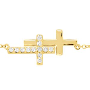 "Diamond Double Sideways Cross Rhodium-Plated 14k Yellow Gold Bracelet, Adjustable 6-8"" (.20 Ctw, HIJ Color, I3 Clarity)"