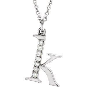 "Diamond Initial 'k' Lowercase Alphabet Letter 14k White Gold Pendant Necklace, 16"" (.03 Cttw GH Color, I1 Clarity)"