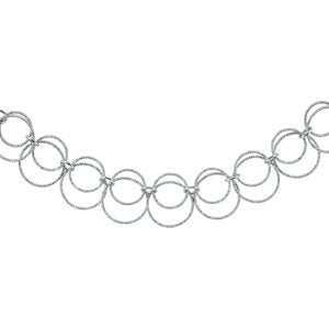 Sterling Silver Diamond Cut Circle Chain Necklace, 18''