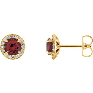 Mozambique Garnet and Diamond Halo-Style Earrings, 14k Yellow Gold (4.5MM) (.16 Ctw, G-H Color, I1 Clarity)