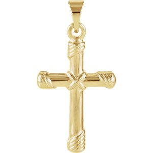 Rope Cross 14k Yellow Gold Pendant (18X12MM)