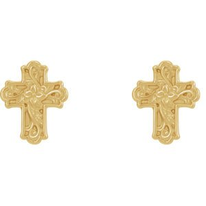 14k Yellow Gold Rose of Sharon Budded Cross Stud Earrings (11.75X9.52 MM)