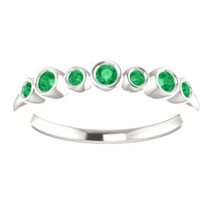 Created Chatham Emerald 7-Stone 3.25mm Ring, Sterling Silver
