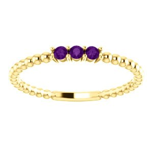 Amethyst Beaded Ring, 14k Yellow Gold, Size 7.75