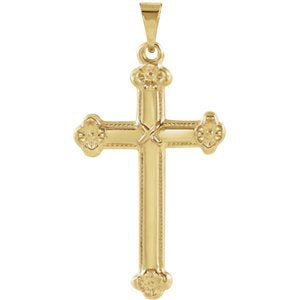 Milgrain Flower Cross 14k Yellow Gold Pendant