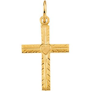 Youth Cross with Heart 14k Yellow Gold Pendant (13X10MM)