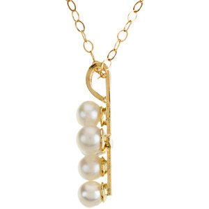 Childrens Freshwater Cultured Akoya Pearl Cross 14k Yellow Gold Necklace (3.0mm), 15""
