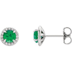 Emerald and Diamond Halo-Style Earrings, Rhodium-Plated 14k White Gold (5MM) (.16 Ctw, G-H Color, I1 Clarity)