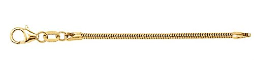 1.5mm 14k Yellow Gold Solid Round Snake Chain Necklace Extender or Safety Chain, 2.25""