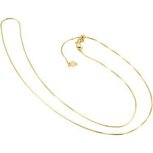 14k Yellow Gold Snake Chain, Adjustable to 22""