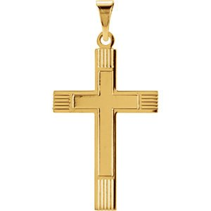 Inlay Protestant Cross 14k Yellow Gold Pendant (39X25MM)