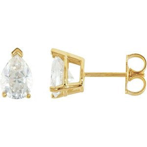 3 Cttw Charles and Clovard 14k Yellow Gold Moissanite Pear Solitaire Earrings