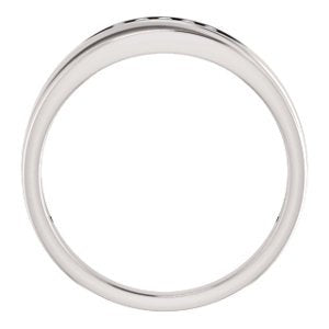 Men's 7-Stone Diamond Wedding Band, 14k White Gold (.16 Ctw, Color G-H, SI2-SI3 Clarity) Size 11