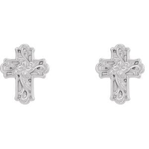 Rhodium-Plated 14k White Gold Rose of Sharon Budded Cross Stud Earrings (11.75X9.52 MM)