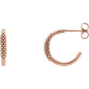 Diamond Freeform J-Hoop Earrings, 14k Rose Gold (.1 Ctw, G-H Color, I1 Clarity )