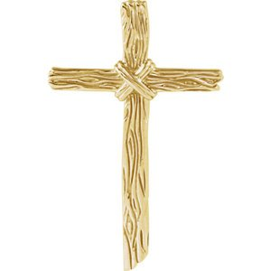 Woodgrain Cross Brushed 10k Yellow Gold Pendant (50.75X32.25MM)