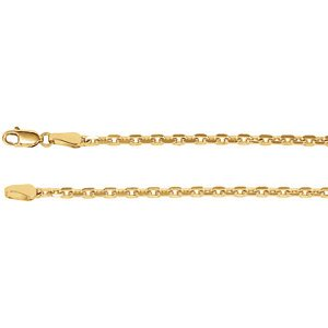 2.5mm 14k Yellow Gold Diamond Cut Cable Chain, 20""
