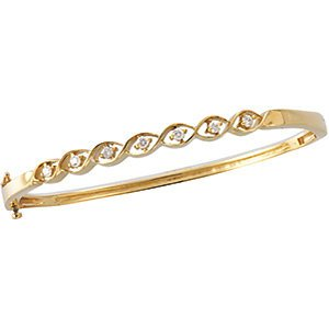 "Diamond Bangle Bracelet, 14k Yellow Gold, 7.5"" (.25 Cttw, GH Color , I1 Clarity )"