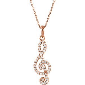 "Petite Diamond Treble Clef 14k Rose Gold Pendant Necklace, 16"" (.25 Cttw)"